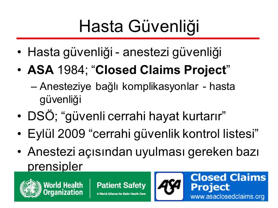 """Hasta Güvenliği Hasta güvenliği - anestezi güvenliği ASA 1984; """"Closed Claims Project"""" –Anesteziye bağlı komplikasyonlar - hasta güvenliği DSÖ; """"güven"""