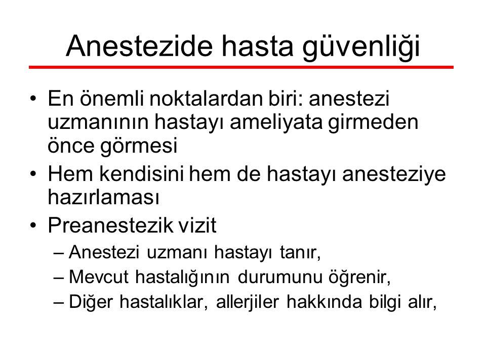 Anestezide hasta güvenliği En önemli noktalardan biri: anestezi uzmanının hastayı ameliyata girmeden önce görmesi Hem kendisini hem de hastayı anestez