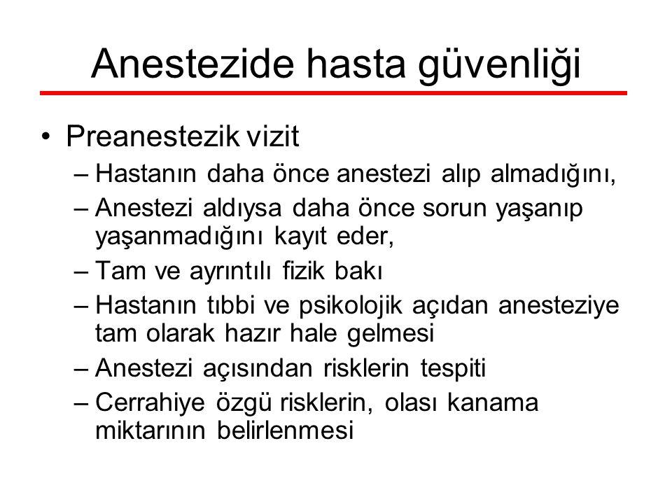 Anestezide hasta güvenliği Preanestezik vizit –Hastanın daha önce anestezi alıp almadığını, –Anestezi aldıysa daha önce sorun yaşanıp yaşanmadığını ka