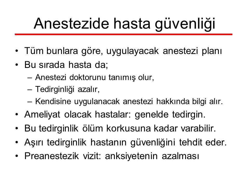 Anestezide hasta güvenliği Tüm bunlara göre, uygulayacak anestezi planı Bu sırada hasta da; –Anestezi doktorunu tanımış olur, –Tedirginliği azalır, –K
