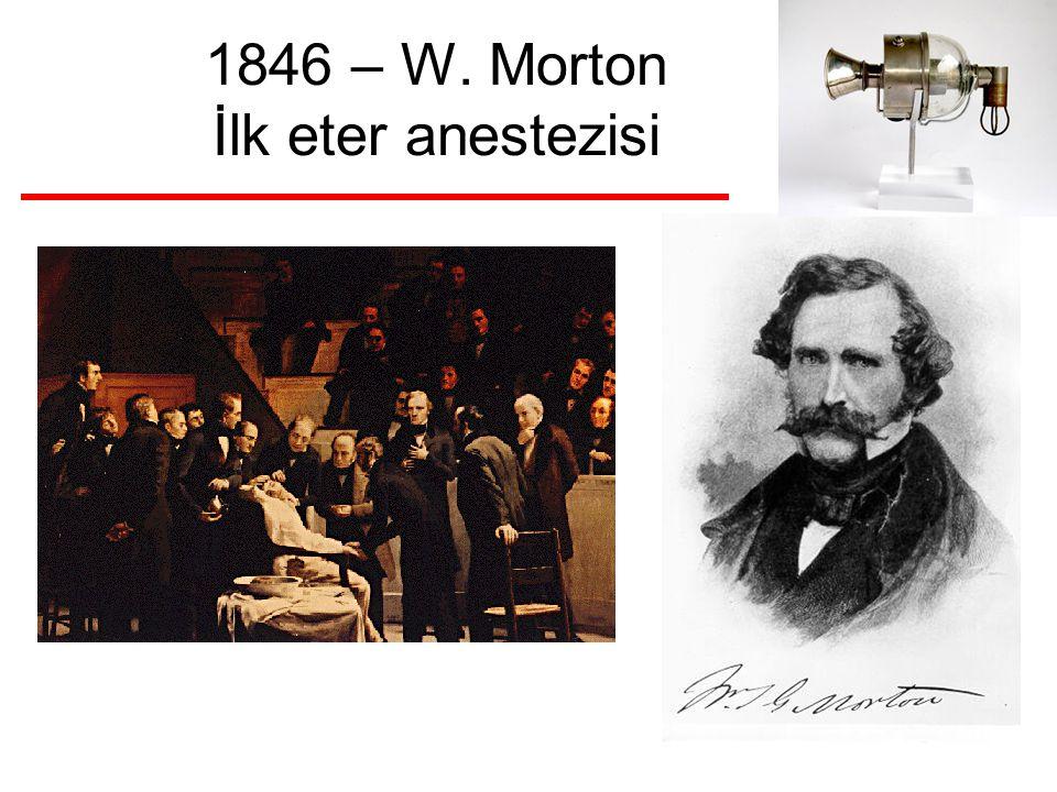 1846 – W. Morton İlk eter anestezisi