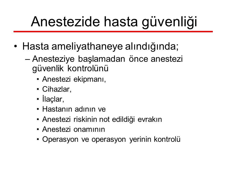 Hasta ameliyathaneye alındığında; –Anesteziye başlamadan önce anestezi güvenlik kontrolünü Anestezi ekipmanı, Cihazlar, İlaçlar, Hastanın adının ve An