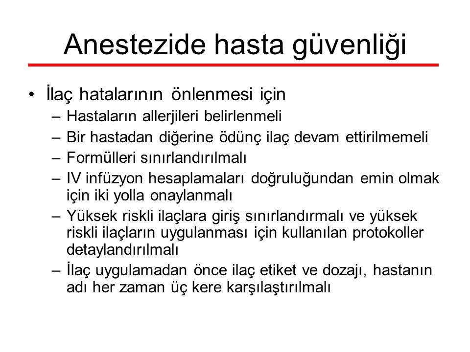 Anestezide hasta güvenliği İlaç hatalarının önlenmesi için –Hastaların allerjileri belirlenmeli –Bir hastadan diğerine ödünç ilaç devam ettirilmemeli