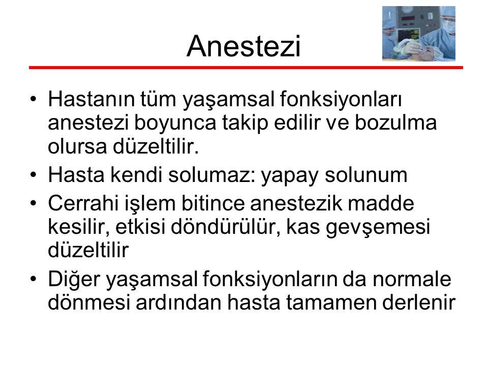 Anestezi Hastanın tüm yaşamsal fonksiyonları anestezi boyunca takip edilir ve bozulma olursa düzeltilir. Hasta kendi solumaz: yapay solunum Cerrahi iş
