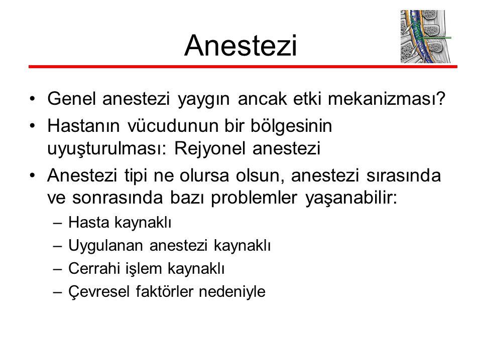 Anestezi Genel anestezi yaygın ancak etki mekanizması? Hastanın vücudunun bir bölgesinin uyuşturulması: Rejyonel anestezi Anestezi tipi ne olursa olsu