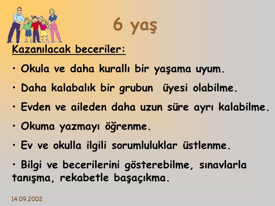14.09.2002 6 yaş Kazanılacak beceriler: Okula ve daha kurallı bir yaşama uyum.
