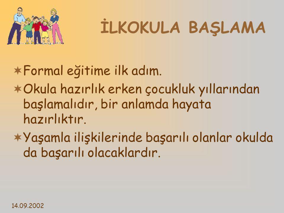 14.09.2002 İLKOKULA BAŞLAMA  Formal eğitime ilk adım.