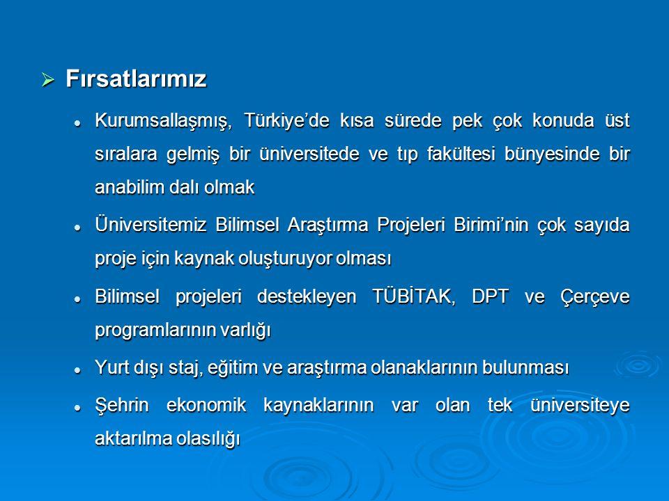  Fırsatlarımız Kurumsallaşmış, Türkiye'de kısa sürede pek çok konuda üst sıralara gelmiş bir üniversitede ve tıp fakültesi bünyesinde bir anabilim da
