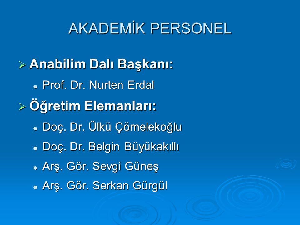 AKADEMİK PERSONEL  Anabilim Dalı Başkanı: Prof. Dr. Nurten Erdal Prof. Dr. Nurten Erdal  Öğretim Elemanları: Doç. Dr. Ülkü Çömelekoğlu Doç. Dr. Ülkü