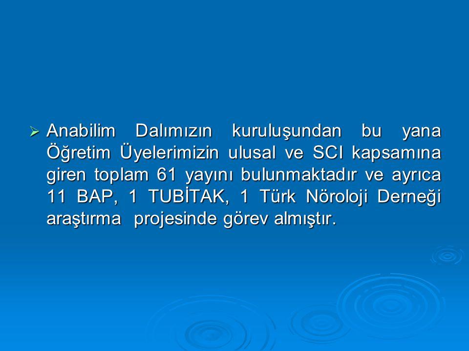 D) Paydaş Analizi (Hedef Kitlesi) Anabilim Dalımız, Üniversitemizin Tıp Fakültesi Temel Bilimler Bölümü'ne bağlıdır.