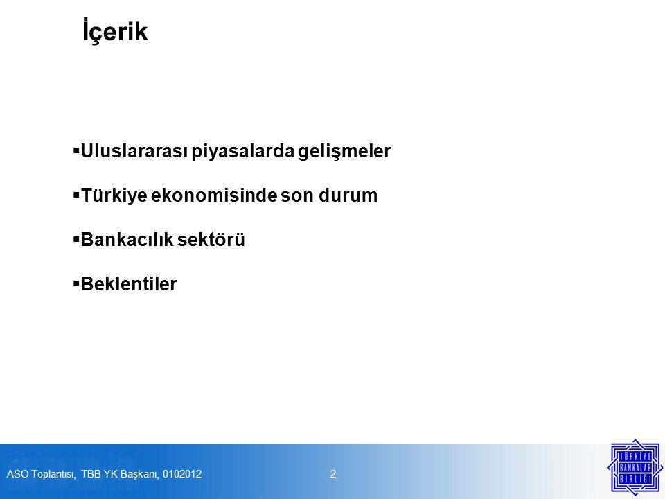 İçerik  Uluslararası piyasalarda gelişmeler  Türkiye ekonomisinde son durum  Bankacılık sektörü  Beklentiler 2ASO Toplantısı, TBB YK Başkanı, 0102