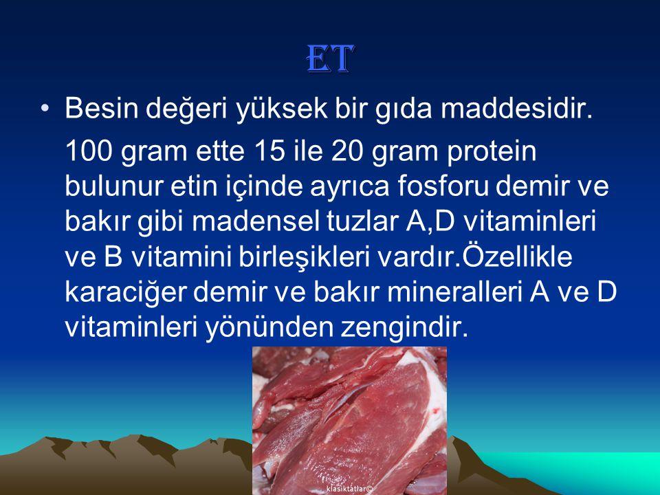 ET Besin değeri yüksek bir gıda maddesidir. 100 gram ette 15 ile 20 gram protein bulunur etin içinde ayrıca fosforu demir ve bakır gibi madensel tuzla