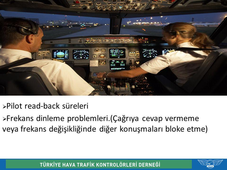  Pilot read-back süreleri  Frekans dinleme problemleri.(Çağrıya cevap vermeme veya frekans değişikliğinde diğer konuşmaları bloke etme)
