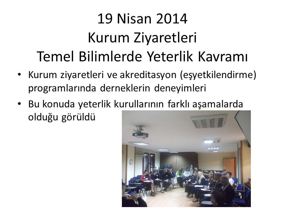 19 Nisan 2014 Kurum Ziyaretleri Temel Bilimlerde Yeterlik Kavramı Kurum ziyaretleri ve akreditasyon (eşyetkilendirme) programlarında derneklerin deney