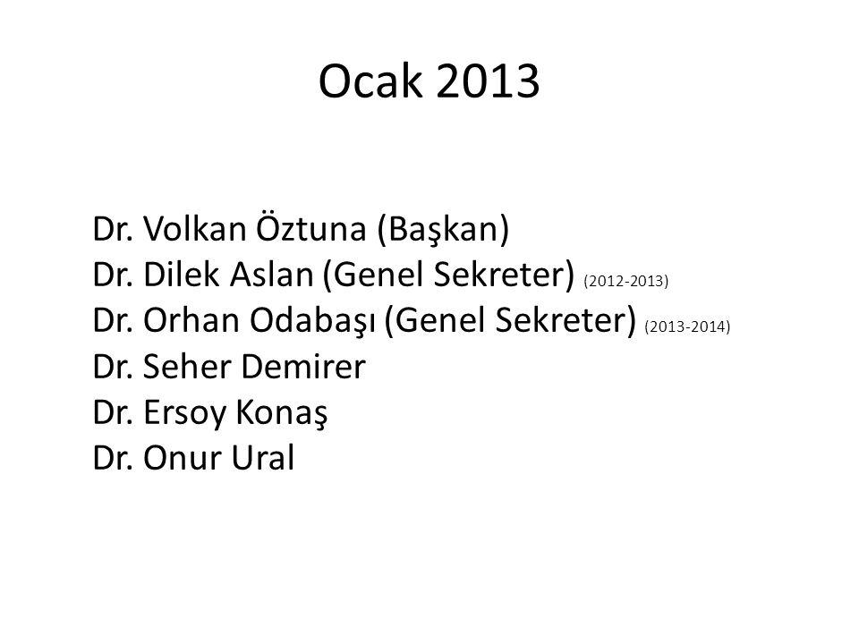 Ocak 2013 Dr. Volkan Öztuna (Başkan) Dr. Dilek Aslan (Genel Sekreter) (2012-2013) Dr. Orhan Odabaşı (Genel Sekreter) (2013-2014) Dr. Seher Demirer Dr.