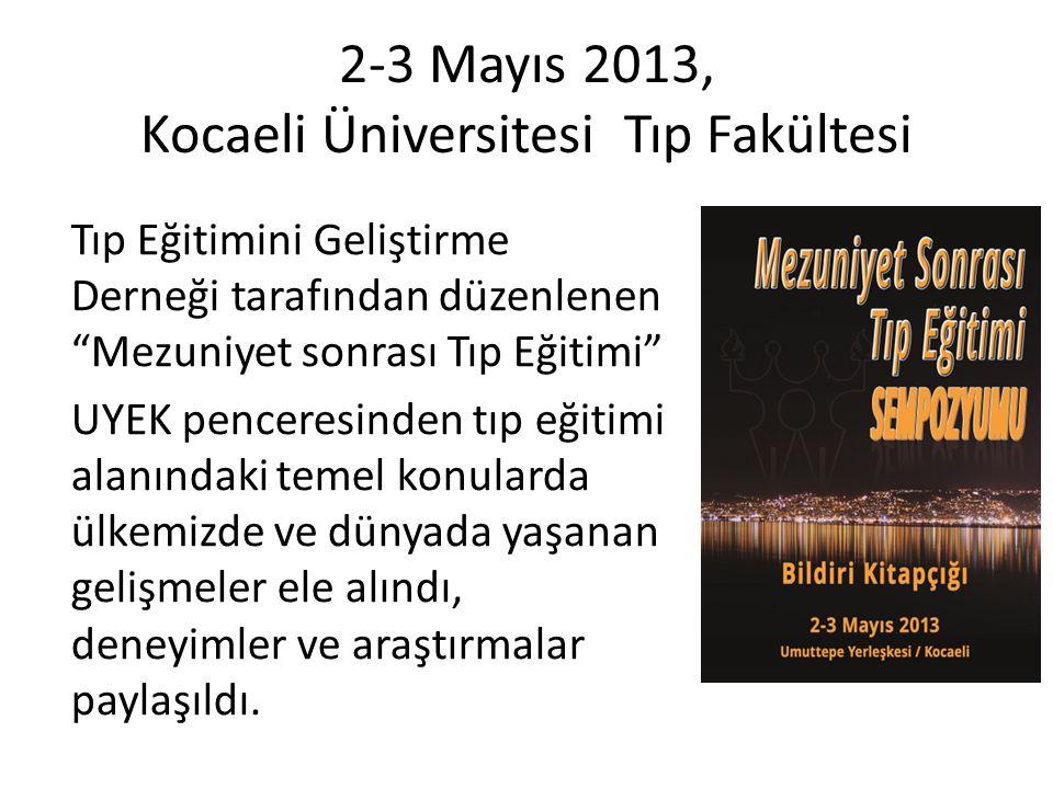 """2-3 Mayıs 2013, Kocaeli Üniversitesi Tıp Fakültesi Tıp Eğitimini Geliştirme Derneği tarafından düzenlenen """"Mezuniyet sonrası Tıp Eğitimi"""" UYEK pencere"""