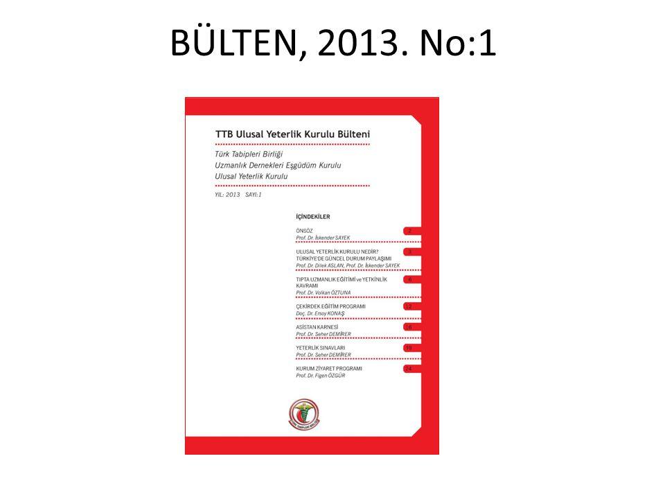 BÜLTEN, 2013. No:1