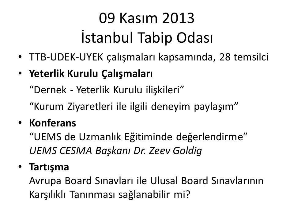 """09 Kasım 2013 İstanbul Tabip Odası TTB-UDEK-UYEK çalışmaları kapsamında, 28 temsilci Yeterlik Kurulu Çalışmaları """"Dernek - Yeterlik Kurulu ilişkileri"""""""