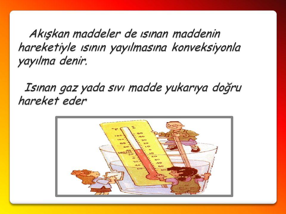 Akışkan maddeler de ısınan maddenin hareketiyle ısının yayılmasına konveksiyonla yayılma denir. Isınan gaz yada sıvı madde yukarıya doğru hareket eder