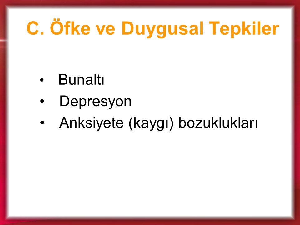 C. Öfke ve Duygusal Tepkiler Bunaltı Depresyon Anksiyete (kaygı) bozuklukları