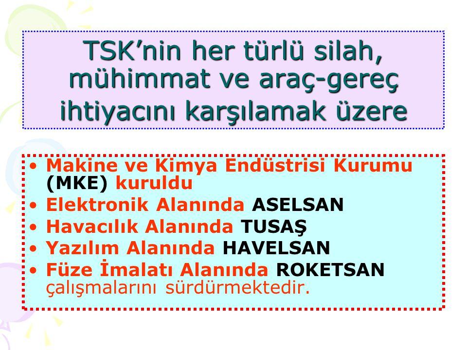 Türk Silahlı Kuvvetleri, Genelkurmay Başkanlığına bağlı olan Kara, Hava, Deniz Kuvvetleri' Barış zamanında İç İşleri Bakanlığına bağlı olarak görev ya