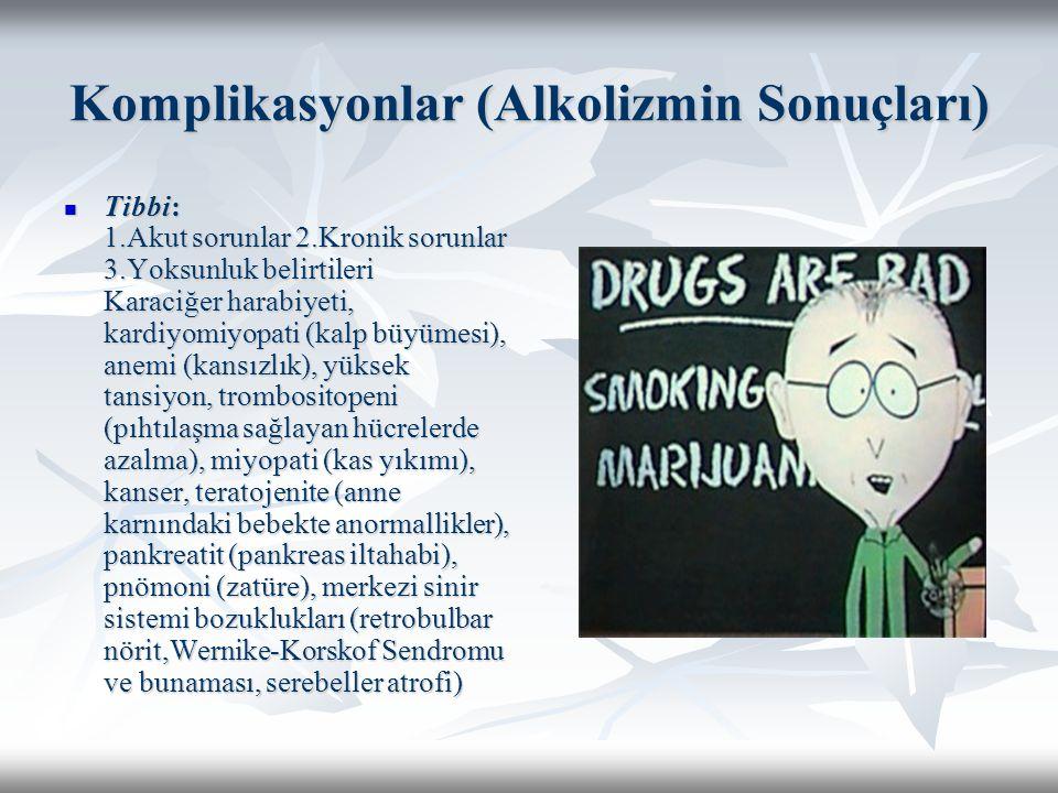 Komplikasyonlar (Alkolizmin Sonuçları) Tibbi: 1.Akut sorunlar 2.Kronik sorunlar 3.Yoksunluk belirtileri Karaciğer harabiyeti, kardiyomiyopati (kalp bü