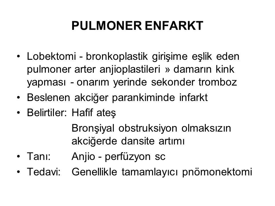 PULMONER ENFARKT Lobektomi - bronkoplastik girişime eşlik eden pulmoner arter anjioplastileri » damarın kink yapması - onarım yerinde sekonder tromboz