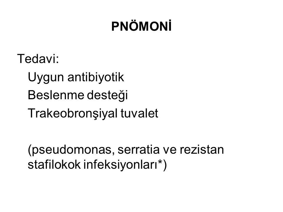 PNÖMONİ Tedavi: Uygun antibiyotik Beslenme desteği Trakeobronşiyal tuvalet (pseudomonas, serratia ve rezistan stafilokok infeksiyonları*)