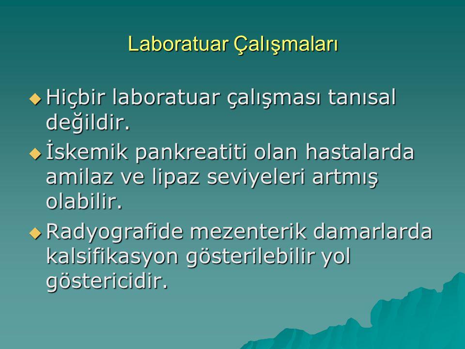 Laboratuar Çalışmaları  Hiçbir laboratuar çalışması tanısal değildir.  İskemik pankreatiti olan hastalarda amilaz ve lipaz seviyeleri artmış olabili
