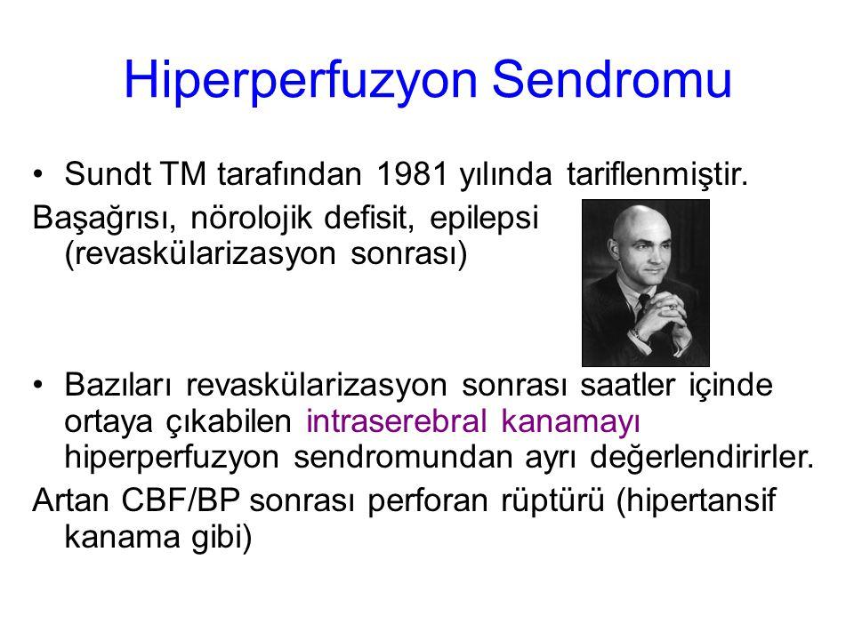 Hiperperfuzyon Sendromu Sundt TM tarafından 1981 yılında tariflenmiştir. Başağrısı, nörolojik defisit, epilepsi (revaskülarizasyon sonrası) Bazıları r