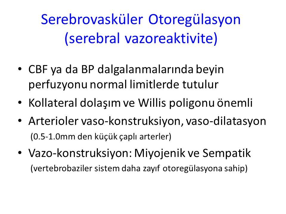 Serebrovasküler Otoregülasyon (serebral vazoreaktivite) CBF ya da BP dalgalanmalarında beyin perfuzyonu normal limitlerde tutulur Kollateral dolaşım v