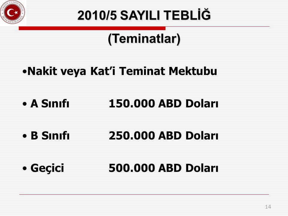 14 2010/5 SAYILI TEBLİĞ (Teminatlar) Nakit veya Kat'i Teminat Mektubu A Sınıfı150.000 ABD Doları B Sınıfı250.000 ABD Doları Geçici500.000 ABD Doları