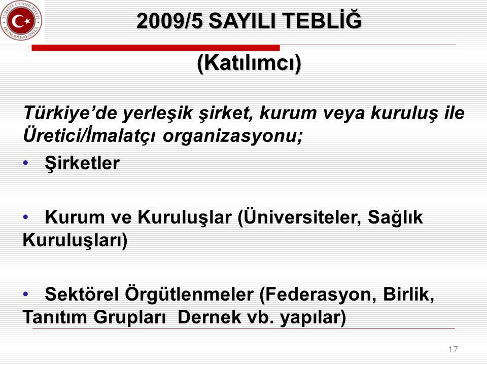 17 2009/5 SAYILI TEBLİĞ (Katılımcı) Türkiye'de yerleşik şirket, kurum veya kuruluş ile Üretici/İmalatçı organizasyonu; Şirketler Kurum ve Kuruluşlar (