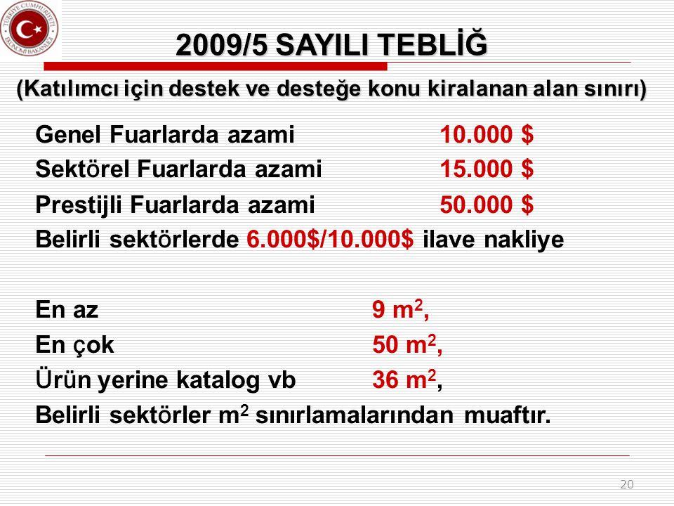 20 2009/5 SAYILI TEBLİĞ (Katılımcı için destek ve desteğe konu kiralanan alan sınırı) Genel Fuarlarda azami 10.000 $ Sekt ö rel Fuarlarda azami 15.000