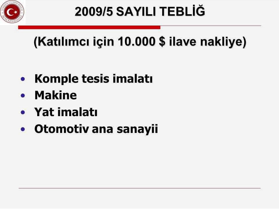 2009/5 SAYILI TEBLİĞ (Katılımcı için 10.000 $ ilave nakliye) Komple tesis imalatı Makine Yat imalatı Otomotiv ana sanayii