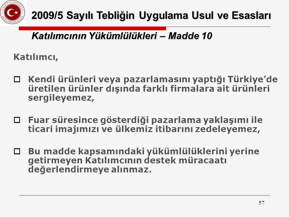 57 Katılımcı,  Kendi ürünleri veya pazarlamasını yaptığı Türkiye'de üretilen ürünler dışında farklı firmalara ait ürünleri sergileyemez,  Fuar süres