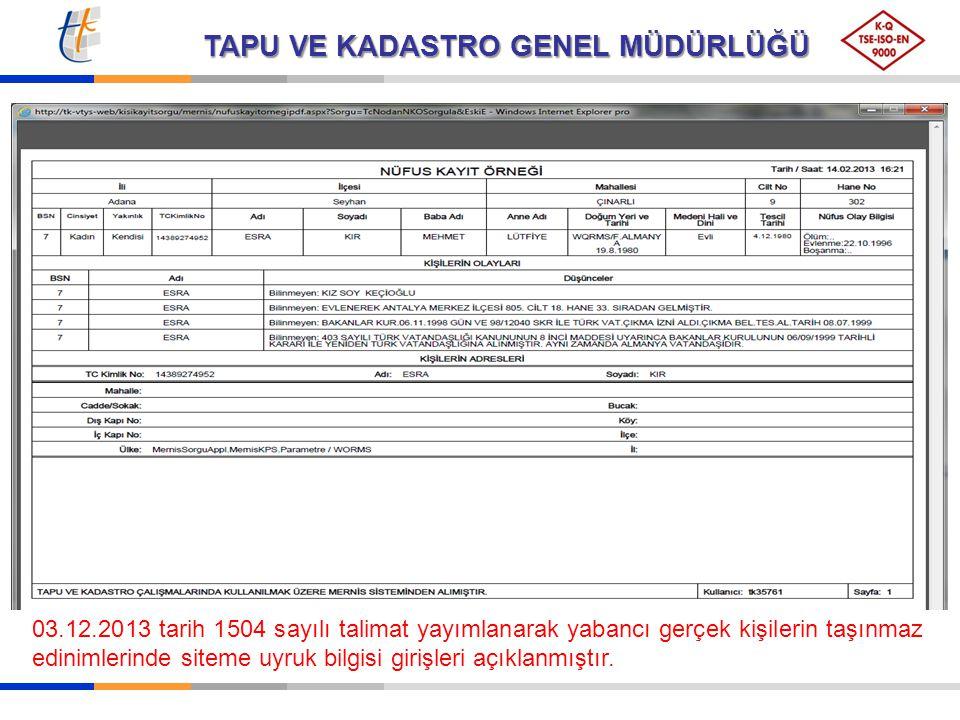 03.12.2013 tarih 1504 sayılı talimat yayımlanarak yabancı gerçek kişilerin taşınmaz edinimlerinde siteme uyruk bilgisi girişleri açıklanmıştır.