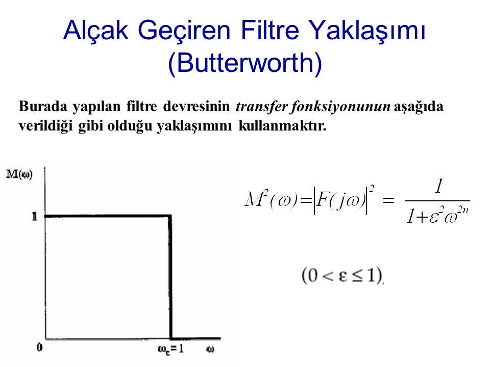 Alçak Geçiren Filtre Yaklaşımı (Butterworth) Burada yapılan filtre devresinin transfer fonksiyonunun aşağıda verildiği gibi olduğu yaklaşımını kullanmaktır.