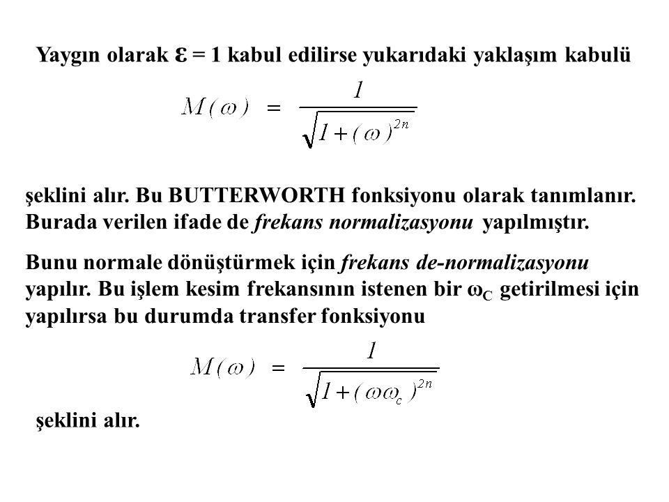 Yaygın olarak ε = 1 kabul edilirse yukarıdaki yaklaşım kabulü şeklini alır.