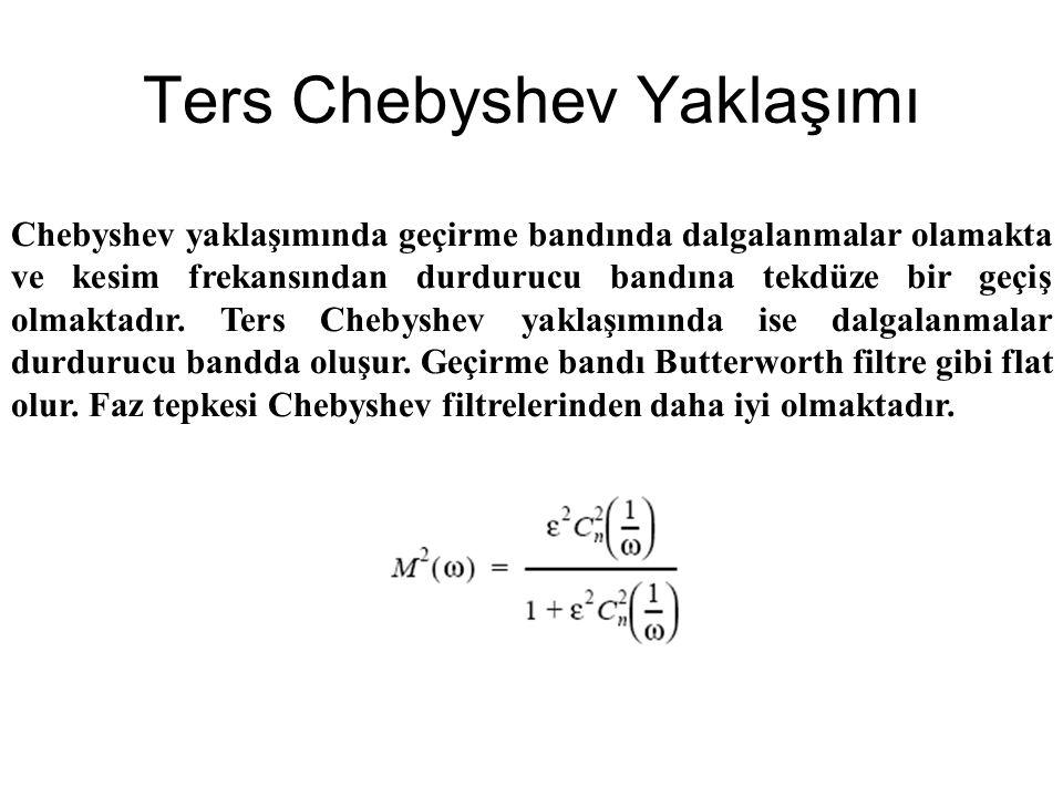 Ters Chebyshev Yaklaşımı Chebyshev yaklaşımında geçirme bandında dalgalanmalar olamakta ve kesim frekansından durdurucu bandına tekdüze bir geçiş olmaktadır.