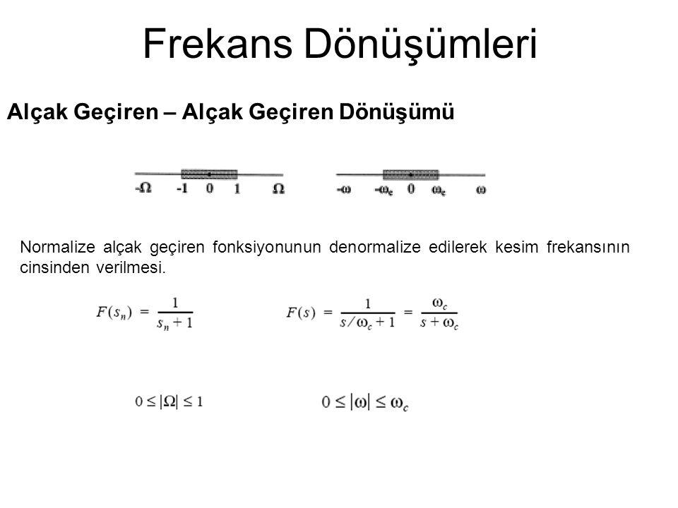 Frekans Dönüşümleri Alçak Geçiren – Alçak Geçiren Dönüşümü Normalize alçak geçiren fonksiyonunun denormalize edilerek kesim frekansının cinsinden verilmesi.