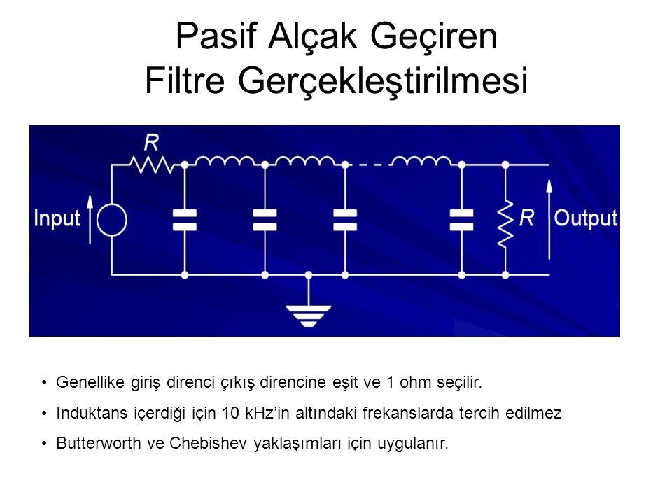 Pasif Alçak Geçiren Filtre Gerçekleştirilmesi Genellike giriş direnci çıkış direncine eşit ve 1 ohm seçilir.