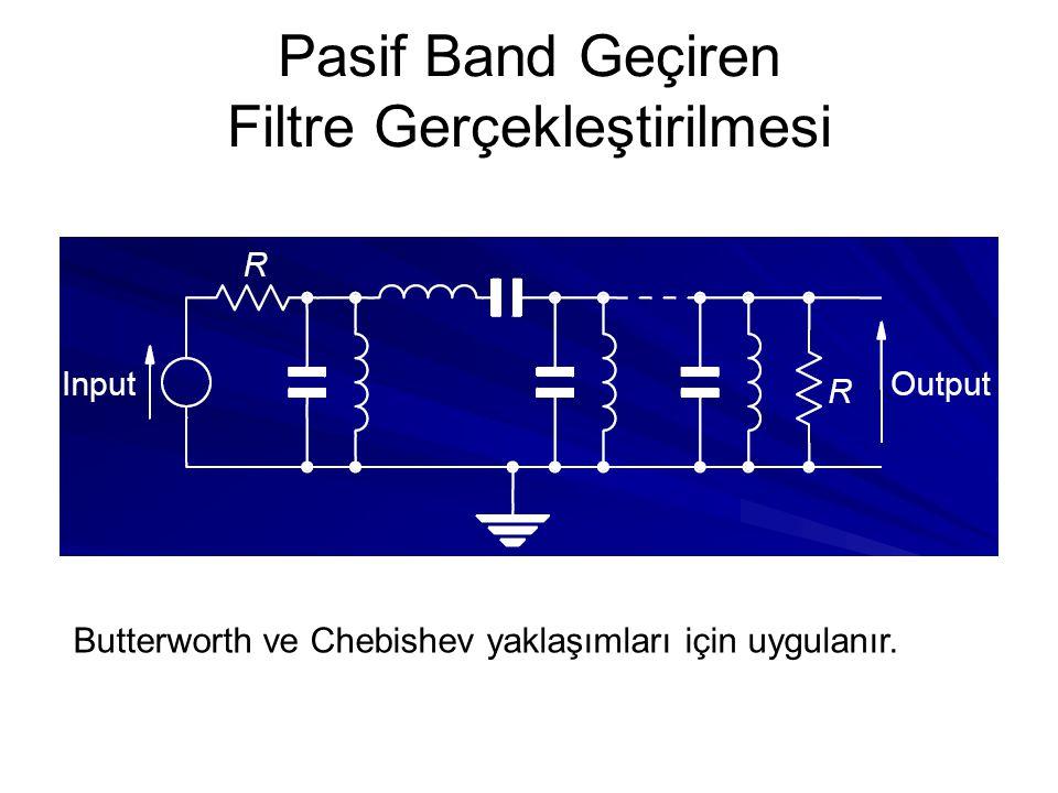 Pasif Band Geçiren Filtre Gerçekleştirilmesi Butterworth ve Chebishev yaklaşımları için uygulanır.