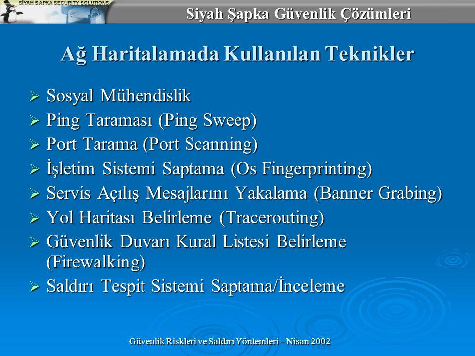 Siyah Şapka Güvenlik Çözümleri Güvenlik Riskleri ve Saldırı Yöntemleri – Nisan 2002 Ağ Haritalamada Kullanılan Teknikler  Sosyal Mühendislik  Ping Taraması (Ping Sweep)  Port Tarama (Port Scanning)  İşletim Sistemi Saptama (Os Fingerprinting)  Servis Açılış Mesajlarını Yakalama (Banner Grabing)  Yol Haritası Belirleme (Tracerouting)  Güvenlik Duvarı Kural Listesi Belirleme (Firewalking)  Saldırı Tespit Sistemi Saptama/İnceleme