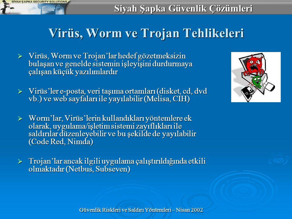 Siyah Şapka Güvenlik Çözümleri Güvenlik Riskleri ve Saldırı Yöntemleri – Nisan 2002 Virüs, Worm ve Trojan Tehlikeleri  Virüs, Worm ve Trojan'lar hedef gözetmeksizin bulaşan ve genelde sistemin işleyişini durdurmaya çalışan küçük yazılımlardır  Virüs'ler e-posta, veri taşıma ortamları (disket, cd, dvd vb.) ve web sayfaları ile yayılabilir (Melisa, CIH)  Worm'lar, Virüs'lerin kullandıkları yöntemlere ek olarak, uygulama/işletim sistemi zayıflıkları ile saldırılar düzenleyebilir ve bu şekilde de yayılabilir (Code Red, Nimda)  Trojan'lar ancak ilgili uygulama çalıştırıldığında etkili olmaktadır (Netbus, Subseven)