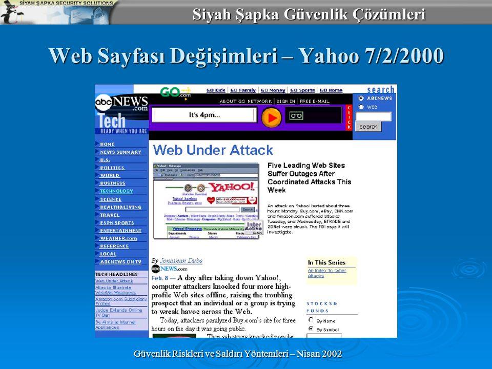 Siyah Şapka Güvenlik Çözümleri Güvenlik Riskleri ve Saldırı Yöntemleri – Nisan 2002 Web Sayfası Değişimleri – Yahoo 7/2/2000