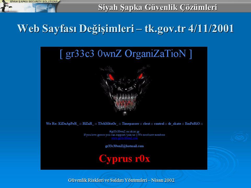 Siyah Şapka Güvenlik Çözümleri Güvenlik Riskleri ve Saldırı Yöntemleri – Nisan 2002 Web Sayfası Değişimleri – tk.gov.tr 4/11/2001