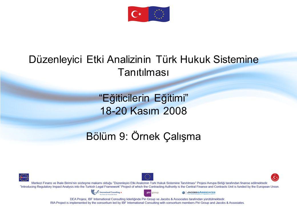 Düzenleyici Etki Analizinin Türk Hukuk Sistemine Tanıtılması Eğiticilerin Eğitimi 18-20 Kasım 2008 Bölüm 9: Örnek Çalışma