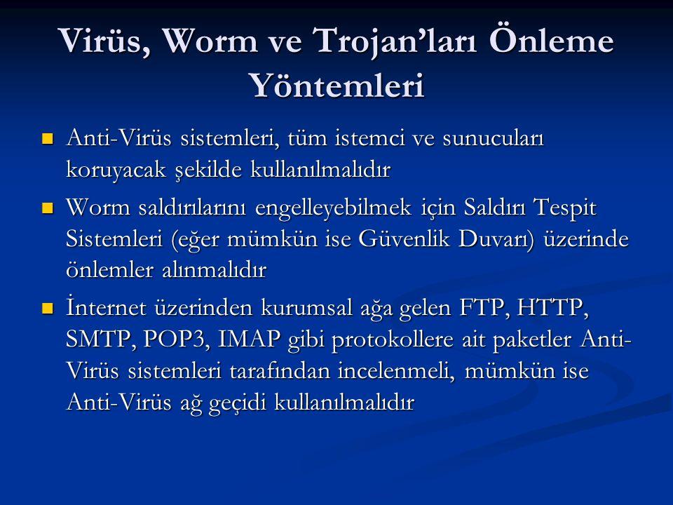 Virüs, Worm ve Trojan'ları Önleme Yöntemleri Anti-Virüs sistemleri, tüm istemci ve sunucuları koruyacak şekilde kullanılmalıdır Anti-Virüs sistemleri,