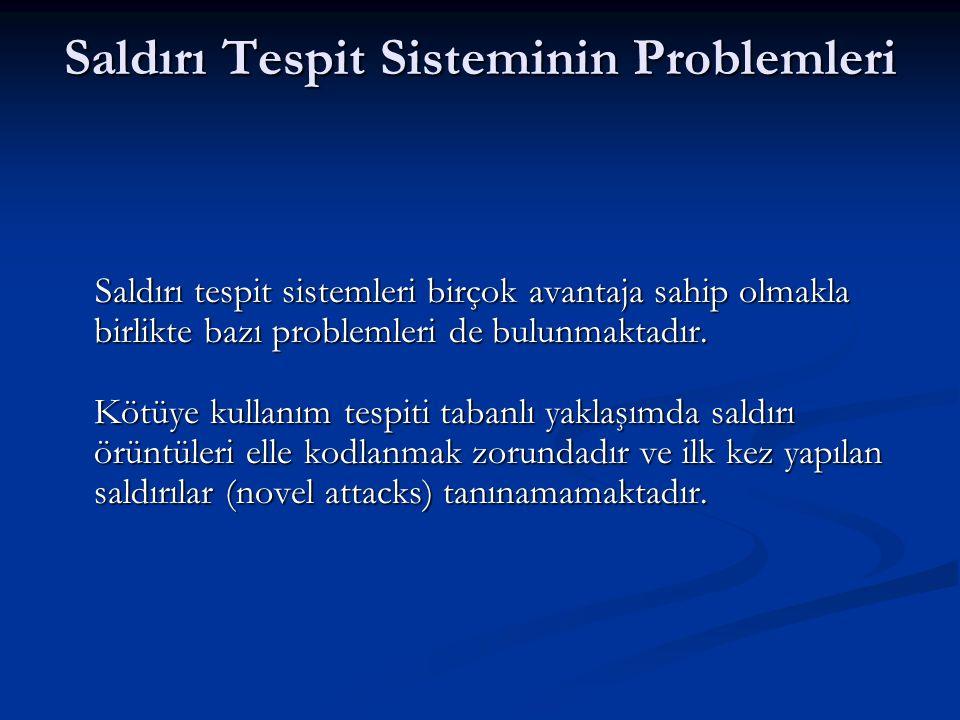 Saldırı Tespit Sisteminin Problemleri Saldırı tespit sistemleri birçok avantaja sahip olmakla birlikte bazı problemleri de bulunmaktadır. Kötüye kulla